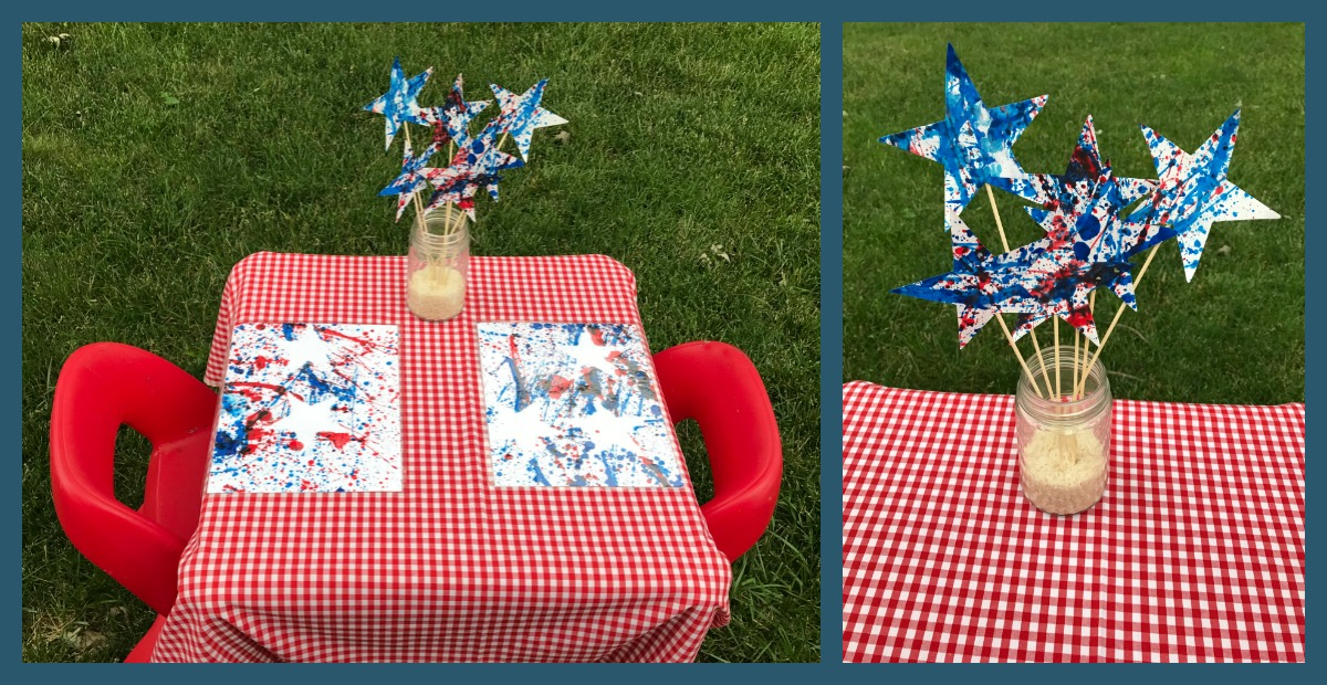Preschool Splatter Paint Art and Decorations for the 4th of July