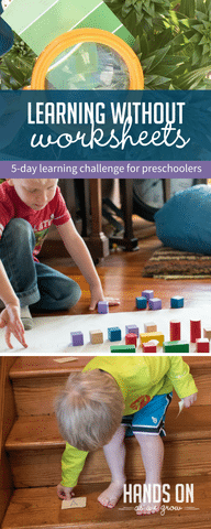 Come learn through play with a FREE Activity Challenge: Learning without Worksheets. It's PLAYFUL LEARNING at its best! #preschoolers #homepreschool #preschoolathome #preschooltoolbox #homeschooling