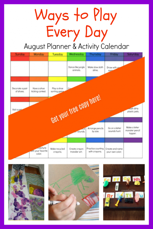 Ways to Play Every Day: August Activity Calendar for Preschoolers!