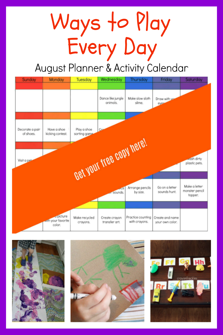 August Ways to Play Every Day Activity Calendar for Preschoolers