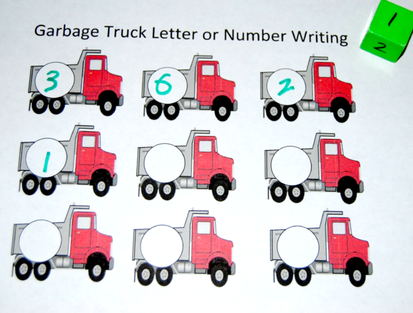 Garbage Truck Themed Letter or Number Stamping Mats for Preschoolers