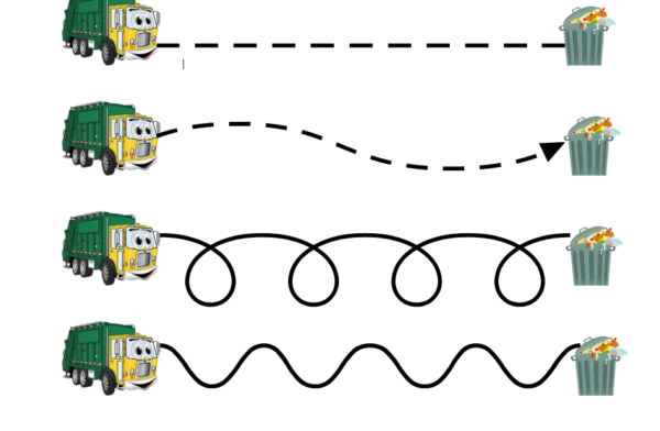 Garbage Truck Pre-Writing Line Paths for Preschoolers