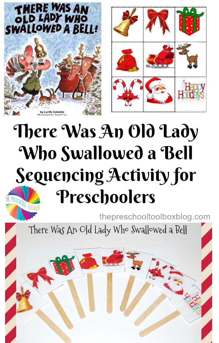 Free Preschool Sequencing Cards for There Was An Old Lady Who Swallowed a Bell by Lucille Colandro