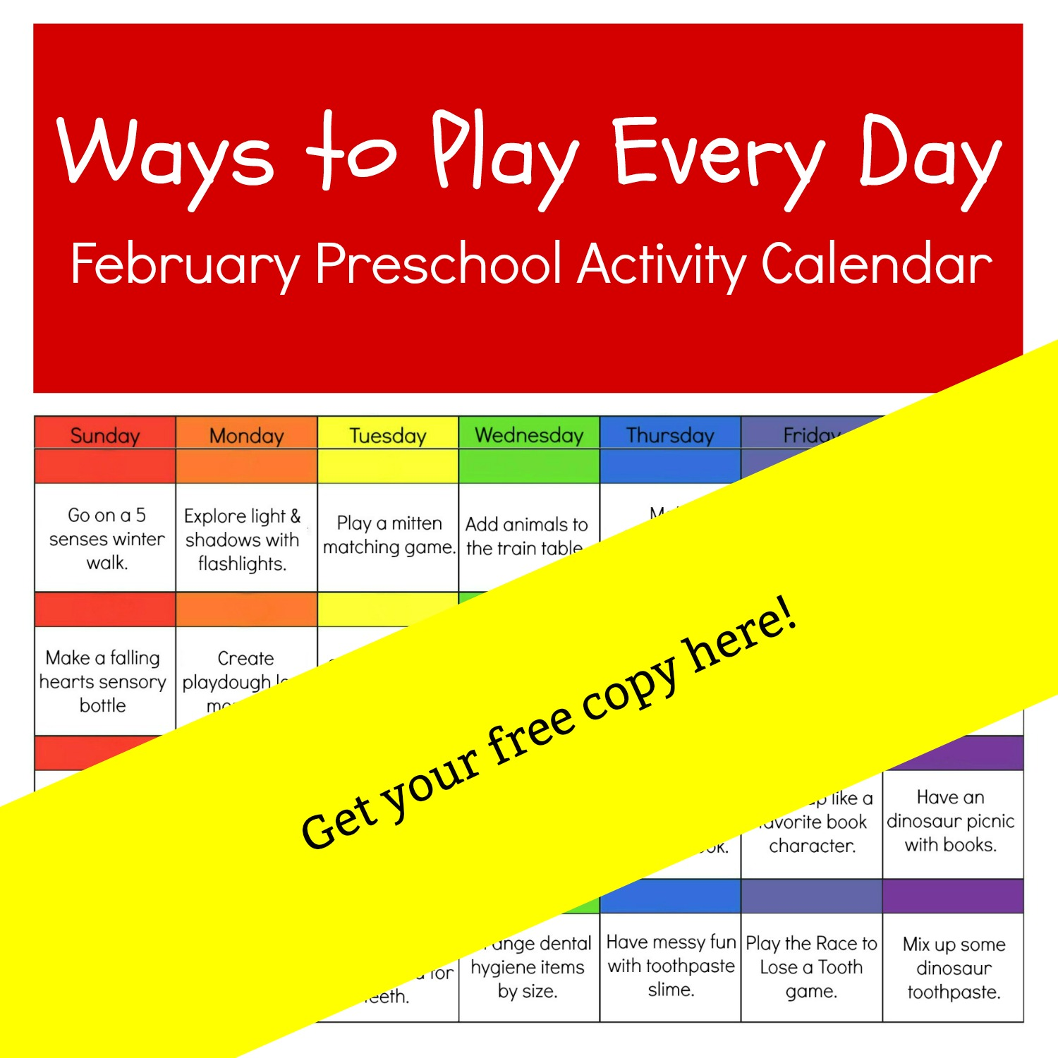 Preschool February Free Printable Activity Calendar