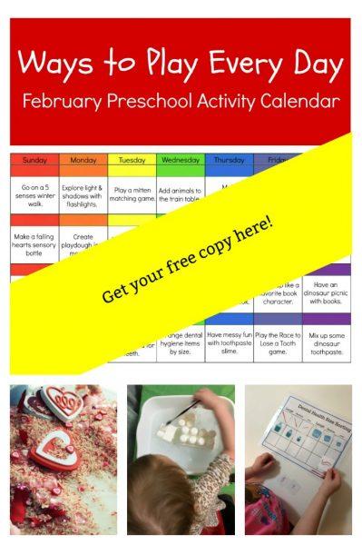 Preschool Free Printable Activity Calendar for February