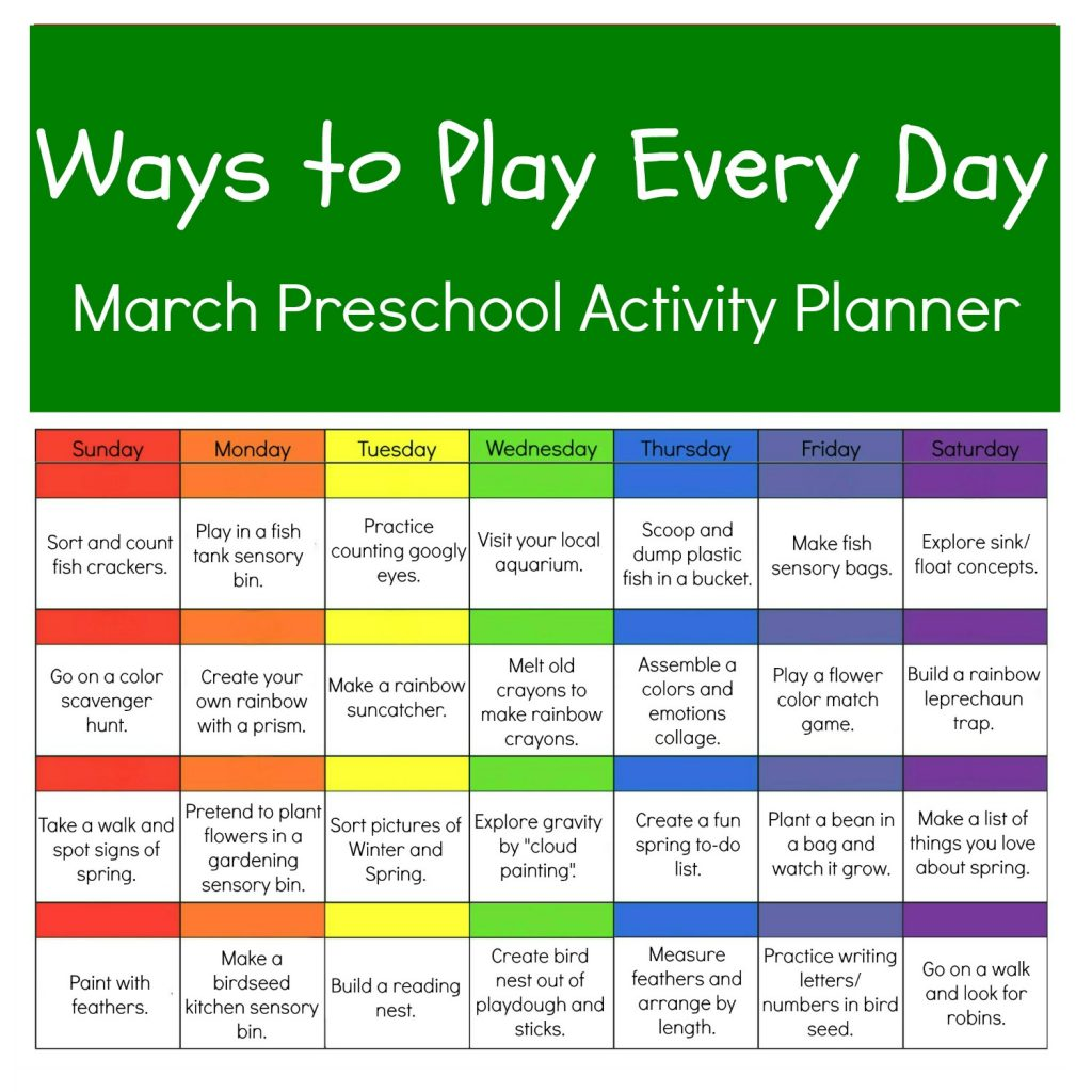 March Ways to Play Every Day Calendar of Activities for Preschoolers