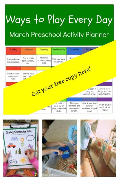 Ways to Play Every Day in March Printable Activity Calendar for Preschoolers