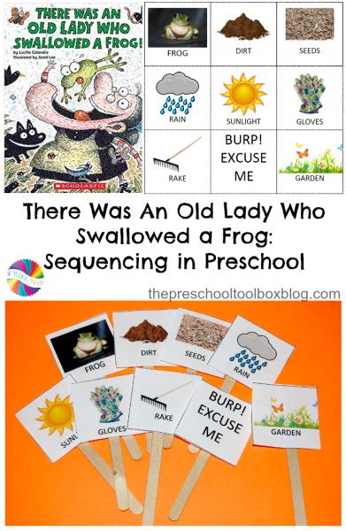 Come read and sequencing There Was An Old Lady Who Swallowed a Frog with your own preschoolers