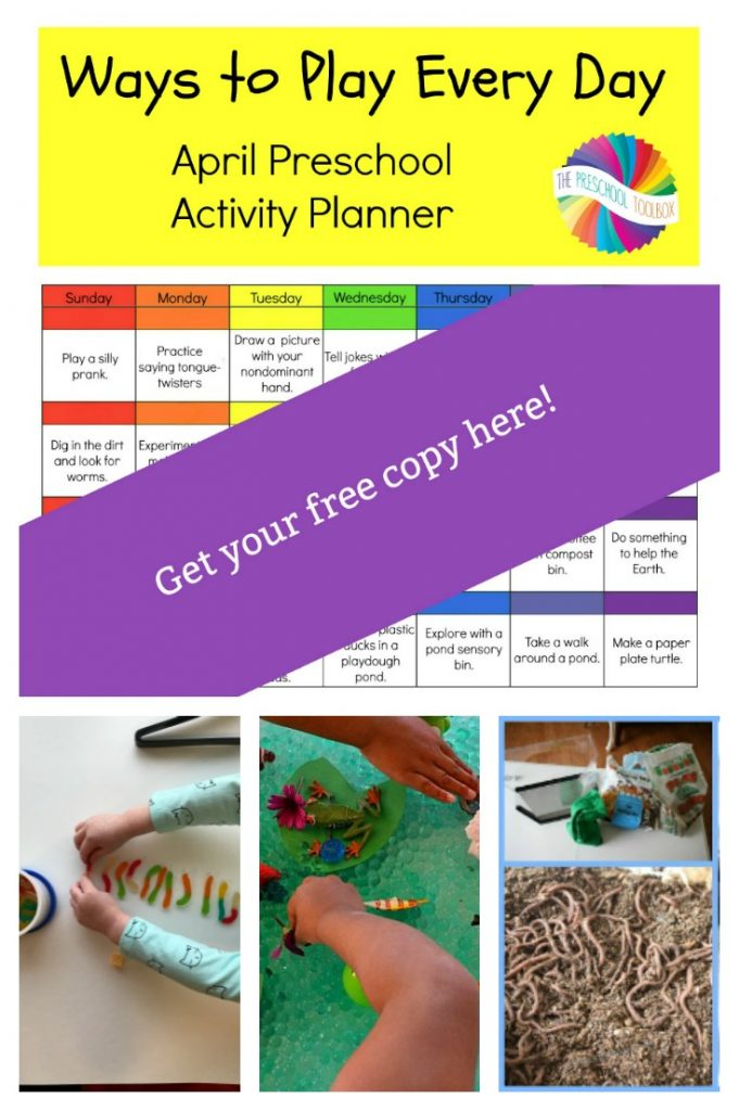 Ways to Play Every Day April Activity Calendar for Preschoolers