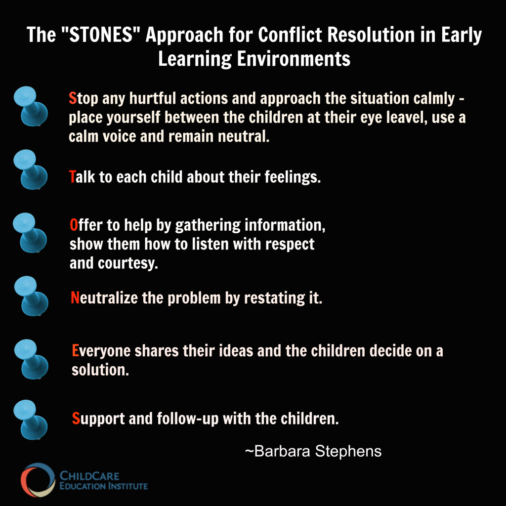 The STONES Approach for Conflict Resolution in Early Learning Environments from GUI102: Conflict Resolution in the Early Childhood Environment CCEI online