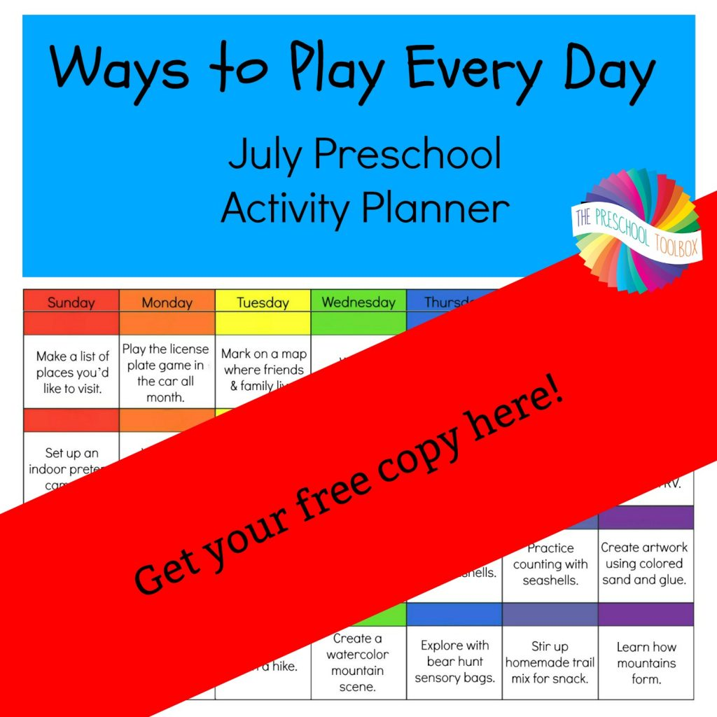 Free Printable July Activity Calendar for Preschoolers