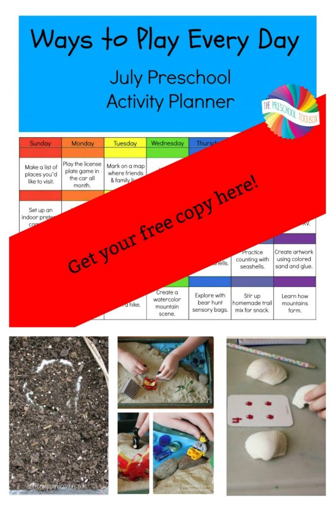 Free Printable July Activity Calendar for Preschoolers