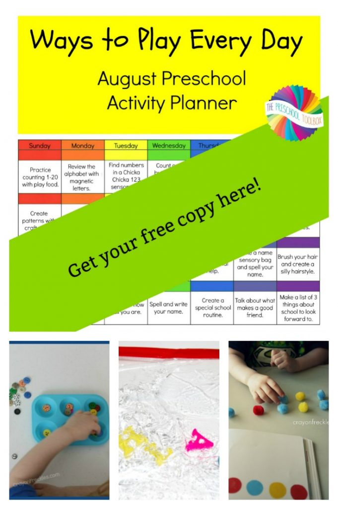 Free printable August Activity Calendar for Preschoolers