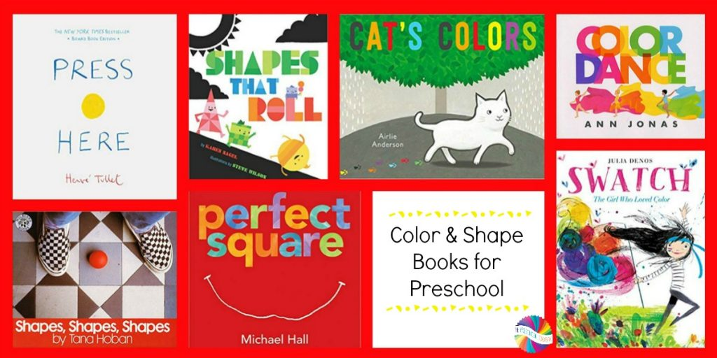 Books about Colors and Shapes for Preschoolers to use with the Ways to Play Every Day in August Activity Calendar