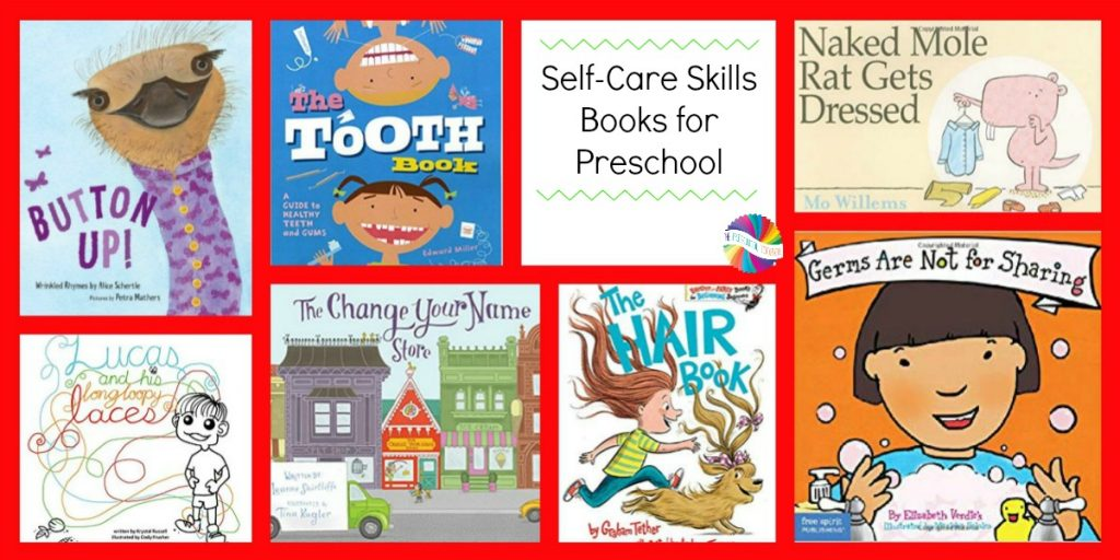 Books about Self-Care for Preschoolers to use with the FREE Ways to Play Every Day August Printable Activity Calendar