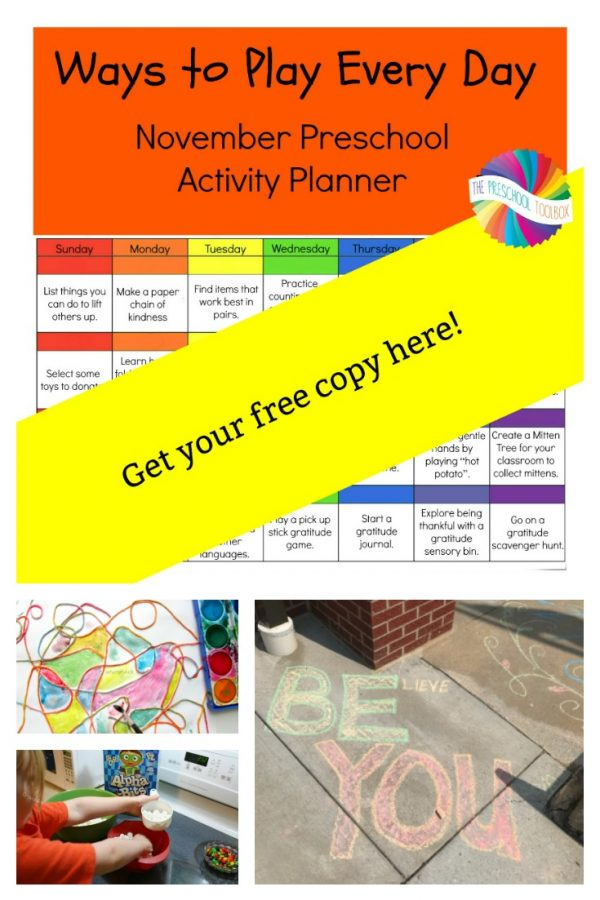 Free November Printable Activity Calendar for Preschoolers