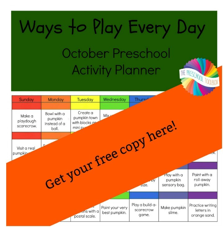 Ways to Play Every Day in October Free Printable Pumpkins Activity Calendar for Preschoolers