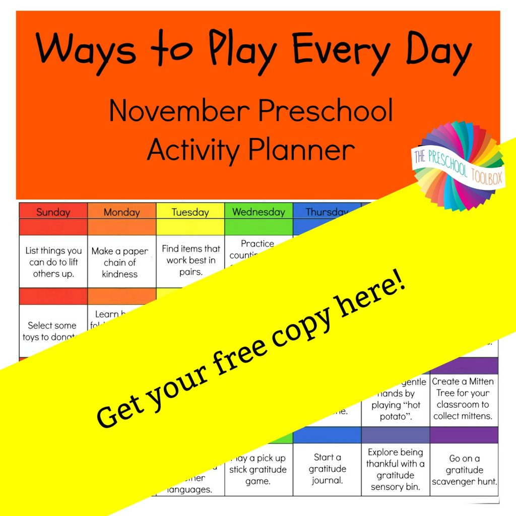Ways to Play Every Day November Activity Calendar for Preschool