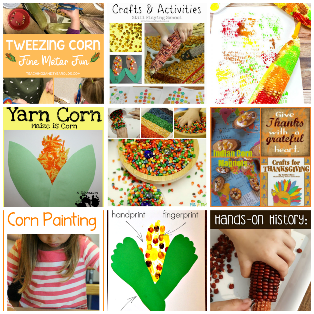 Flint Corn (Indian Corn) Activities, Arts and Crafts for Preschoolers