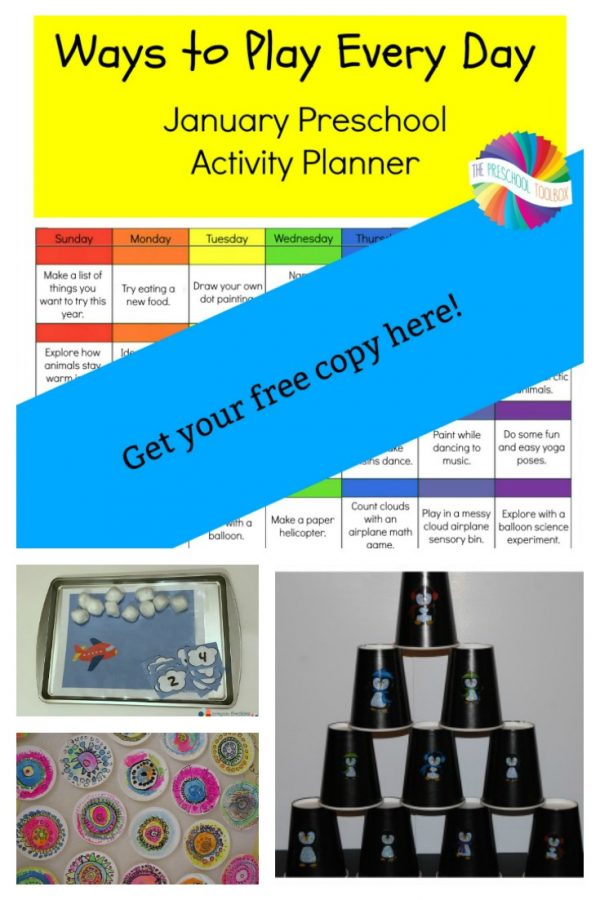 Printable January Activity Calendar for Preschool
