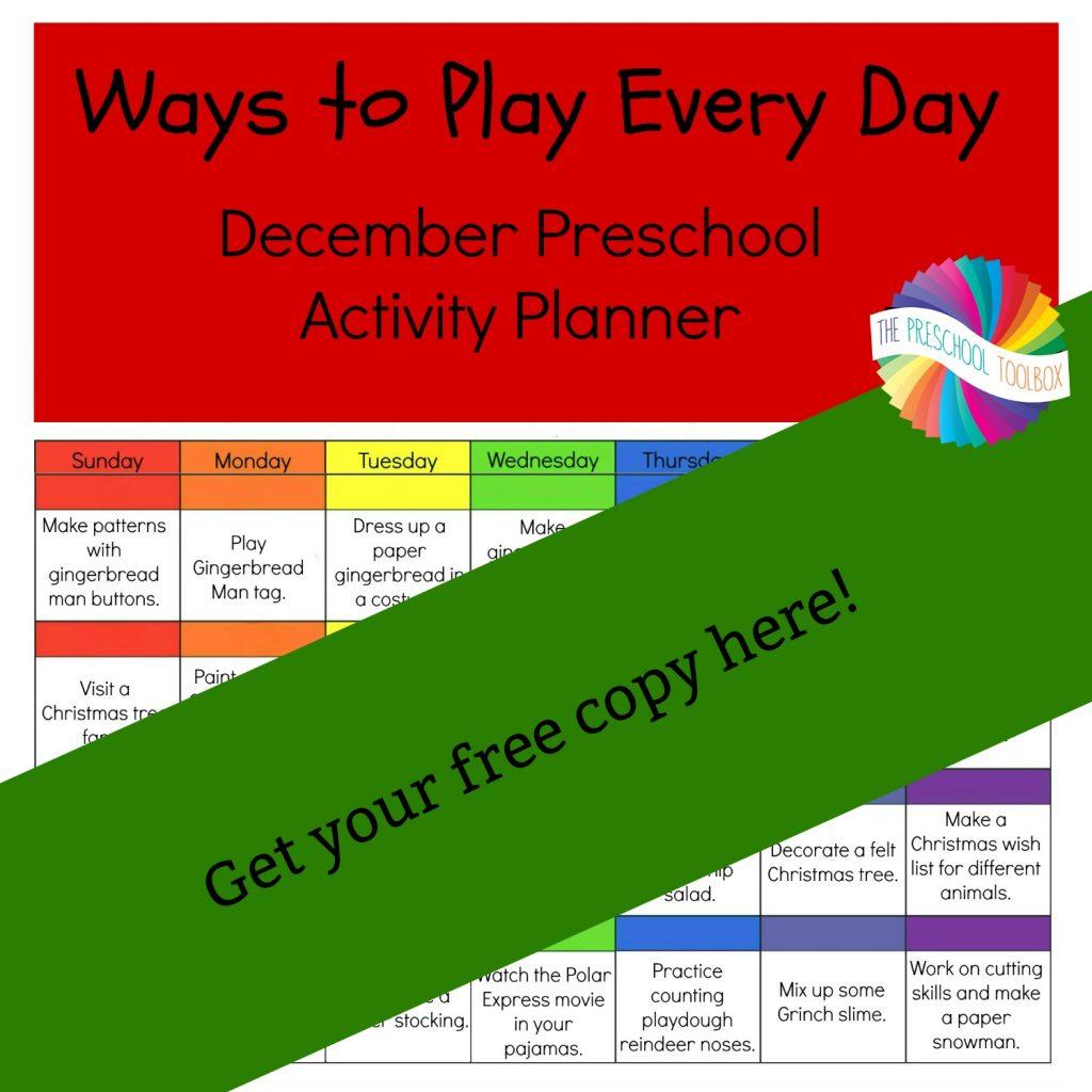 FREE December Preschool Activity Calendar
