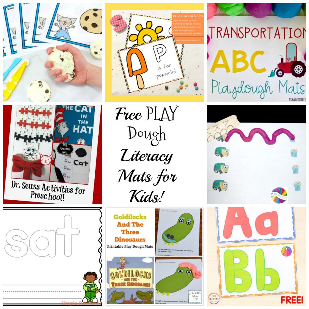 Free Alphabet and Literacy Play Dough Mats for Kids
