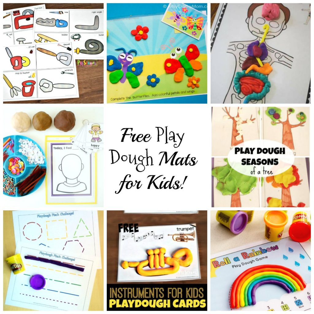 Free Printable Play Dough Mats for Kids - Science, Human Body, Musical Instruments, and MORE!
