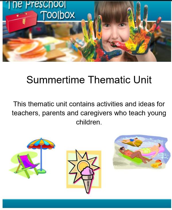 Summer Theme for Preschool and Kindergarten