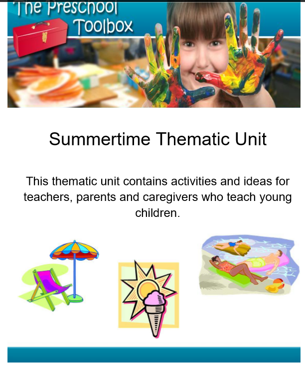 summer theme for preschool and kindergarten the